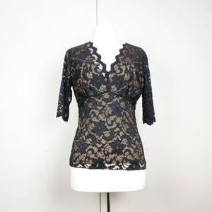 CAbi Black Lace Empire Waist Nude Underlay Top